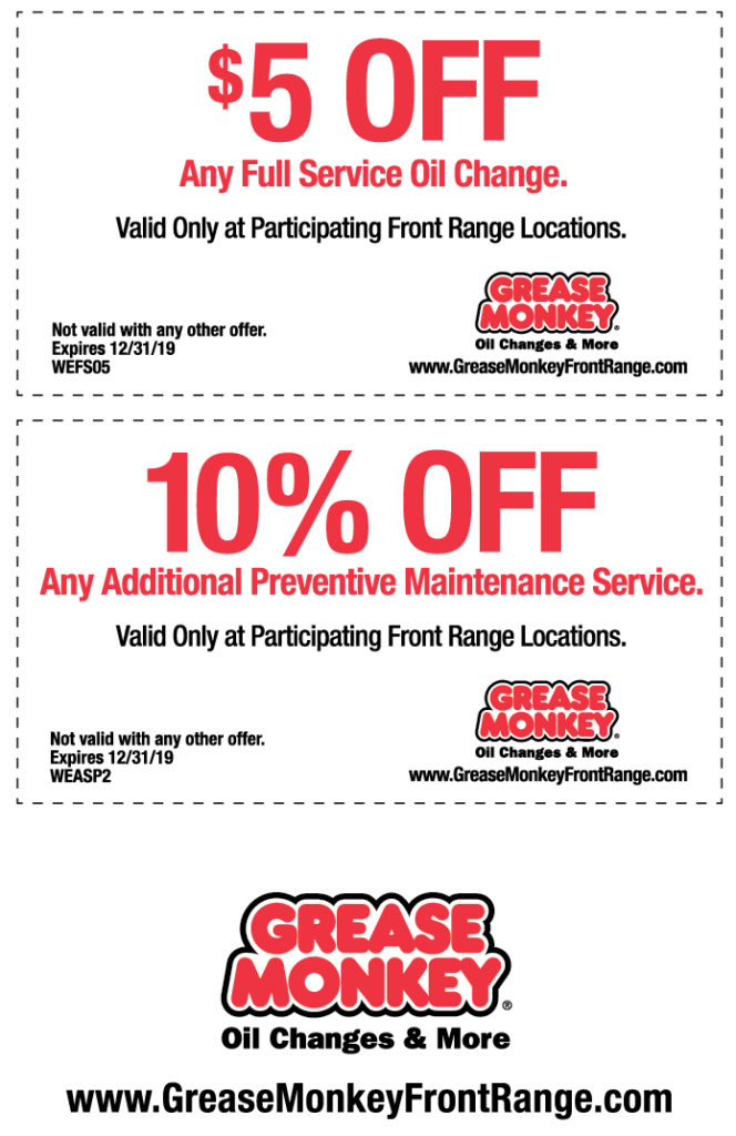 Oil Change Coupons >> Oil Change Automotive Maintenance Coupons Grease Monkey Colorado
